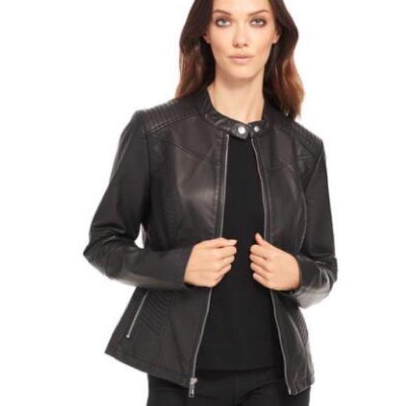 b7fb36b236c PLUS SIZE Black Rivet Moto Faux-Leather Jacket. 1X